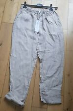 Grey Italian Linen Cotton Trousers/Pants Casual Holiday One size side pockets