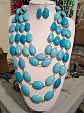 Four Layers Blue Turquoise Oval Shape Lucite Bead Chunky Necklace Earring Set