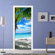 3D Beach Seaside Self Adhesive Bedroom Door Murals Wall Stickers Home Decor