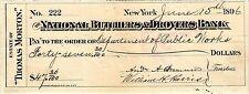 NATIONAL BUTCHERDS & DROVERS BANK AT NEW YORK NY, 1896, CHECK