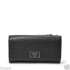 Fossil Original SL6676001 Black Dawson Flap Clutch Leather Women's Wallet