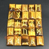 Natural tiger's eye jasper Engraved Runes Gypsy Symbols Healing Crystal 25Pcs