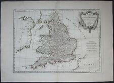 1771 CARTE DU ROYAUME D'ANGLETERRE map Bonne Lattre England United Kingdom
