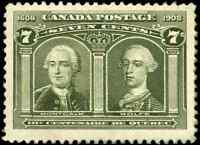 Canada #100 mint VF OG DG 1908 Quebec 7c olive green Montcalm & Wolfe CV$250.00