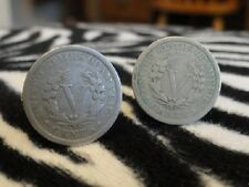 Liberty Head Nickel Cufflinks -- Coin Money American Jewelry Barber Victory V