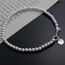 Womens 925 Sterling Silver Love Cuff Bead Ball Open Bangle Charm Bracelet