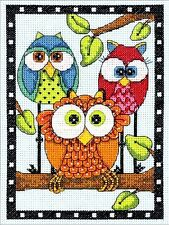"Dimensions Counted Cross Stitch Kit 5"" x 7"" ~ OWL TRIO #70-65159 Sale"