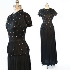 Vintage 30s 40s black STUD studded orange flower cocktail party dress gown S