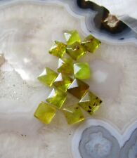 Natural Green Amber Cabochon 9mm Square Cushion, 2 Gemstones