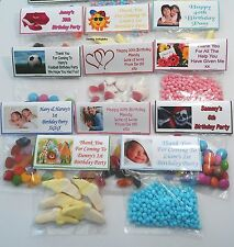 12 Personalised Sweet Bag WRAPPERS Birthday Party Favours POSTED 1st CLASS