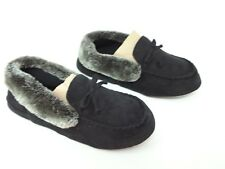 New! Women's Isotoner Woodlands Faux Fur Slippers Black 31Y