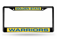 Golden State Warriors Black Metal License Plate Frame Tag Cover Laser Cut Inlays