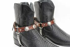 Men Biker Silver Boots Chain Straps Pair Brown Leather Native Indian Face Charms