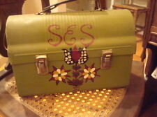 """Vtg Hand Painted Lunchbox """"Purse"""" or Lunchbox Flowers Bird Mushrooms Initials"""