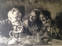 3 Antique 1800's Etching on Silk by JS King and SJ Ferris Signed Photogravure