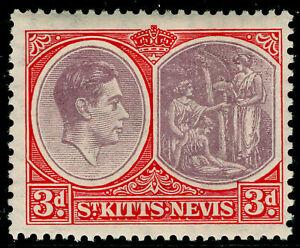 ST KITTS-NEVIS SG73, 3d dull reddish prple&scarlet, VLH MINT. Cat £27. PERF13x12
