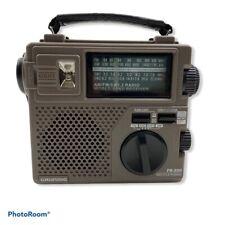Grundig FR-200 AM/FM/SW World Band Receiver Portable Hand Crank Flashlight