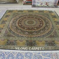 Yilong 8'x8' Handknotted Silk Carpet Square Medallion Kid Friendly Area Rug T051