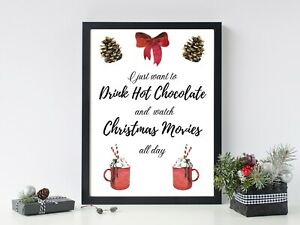 Hot Chocolate And Movies Christmas Print XMAS PICTURE A4  Watercolour Wall ART