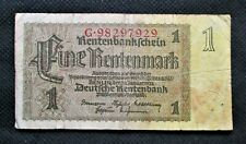 OLD BANK NOTE OF THIRD REICH GERMANY 1 RENTENMARK 1937 NO. G98297929