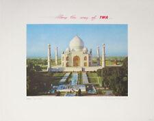 INDIA TWA  Taj Mahal original vintage c.1950 airline travel poster