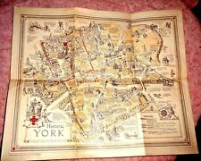 VINTAGE ILLUSTRATED MAP HISTORIC YORK BY ESTRA CLARK 1947