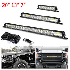 "20"" 13"" 7""in LED Light Bar Offroad SUV Slim Dual Row Combo Wiring Harness Remote"