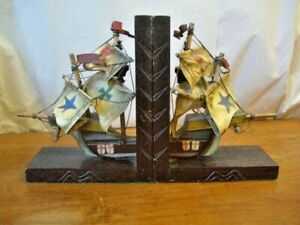 Pair Of Vintage Wooden Ship Bookends, with Canvas sails