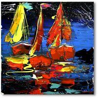 Abstrakte Kunst Moderne Malerei Unikat Schiff Yacht Gemälde Meer Wandbild Nr1033