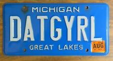 "Michigan ""DATGYRL"" Personalized Vanity License Plate (Dat / That Girl)"