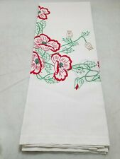 Embroidered Red Poppy Table Cloth
