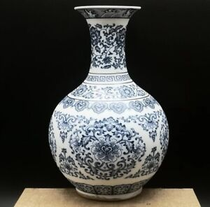 Jingdezhen Ceramic Blue And White Vase Flower Craft Chinese Antique Reproduction