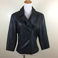 DANIER Womens Sz 6-8 Black 100% Genuine Leather Asymmetric Zip Lined Jacket