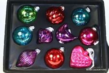 "Set of 10 Glass Ornaments Balls Bird Heart Target  3"" 1/2  Holiday Xmas Decor"