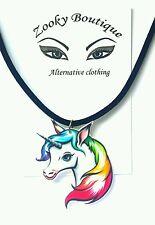 Rainbow unicorn horse pony Black suede choker pendant necklace jewelry gift