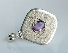 Beautiful Large Sterling Silver & Amethyst Modernist Pendant Necklace 14g