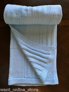 NEW Rochdale Boutique 100% Cotton Knitted Baby Blanket /Throw Blue Vintage Style