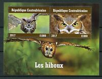 Central African Rep 2017 CTO Owls 2v M/S II Owl Birds Stamps