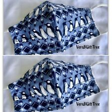 2 TWO VERA BRADLEY Cotton Face Mask PENGUINS 🐧 BLUE NonMedical Covering NWT New