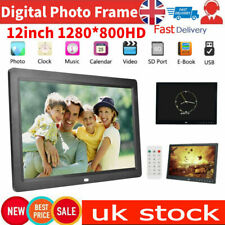 12 Inch HD LED Digital Photo Frame Remote Control Clock Picture Movie Mp4 Player