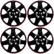 "4 Pc Set 15"" Ice Black & Red Hub Cap Full Lug Skin Rim Cover for OEM Steel Wheel"