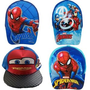 Boys Kids Spiderman Avengers Cars Summer Sun Baseball Cap Hat Age 3-9 Years