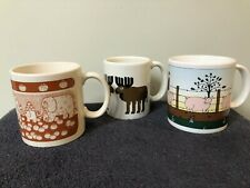 ghtly Lot Of 3 Taylor & Ng Mugs Cups Pigs Moose And Elephants