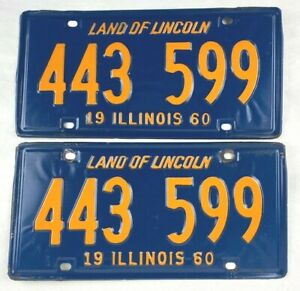 Illinois 1960 Vtg License Plate Pair Nice Man Cave Gift Classic Car Set Garage