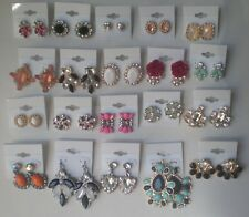 Wholesale Lot of 20 Pairs of Earrings Rhinestone Stud Dangle New #01