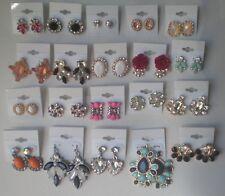 Wholesale Lot of 20 Pairs of Earrings Rhinestone Stud Dangle New #01