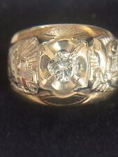 10K YELLOW GOLD MEN'S MASONIC RING - 33 DEGREE WITH CENTER DIAMOND   WT 9.5 GR.