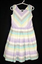 Gymboree Striped Sleeveless Easter Dress sz 6 Tea and Cake Party Linen Blend