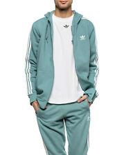LG  adidas Originals MEN'S fleece Full Zip 3 Stripes HOODIE & PANTS green  LAST1
