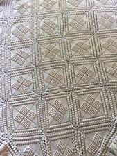 "Vintage Handmade Crochet Popcorn Bedspread Coverlet 61"" X 75"""